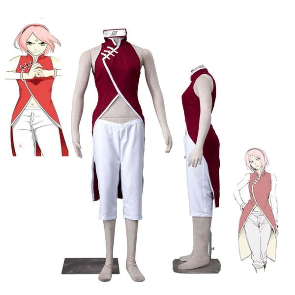 HOT Sale Anime COS Boruto: NARUTO Haruno Sakura Cheongsam Cosplay Costume Outfit Any Size Halloween Free Shipping