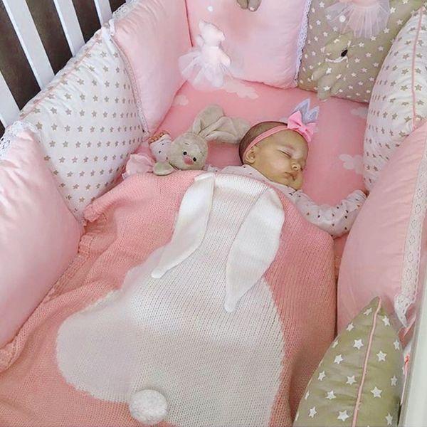 Cute Baby Blankets Infant Kids Rabbit Soft Warm Wool Swaddle Kids Bath Towel Lovely Newborn Baby Bedding Props Baby Blankets
