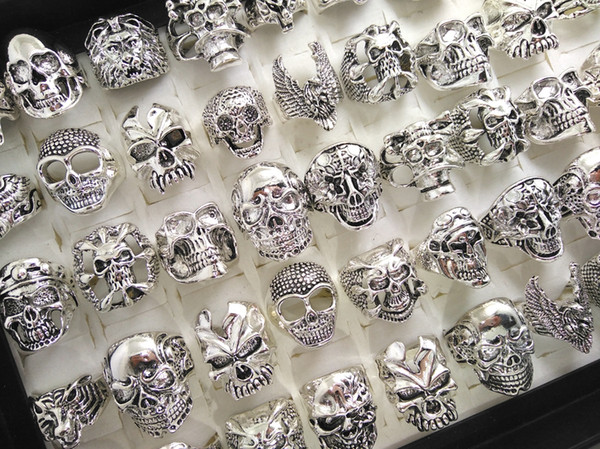 best selling Skull Skeleton Gothic Biker Rings Men's Rock Punk Ring Party Favor Top Styles Mix Wholesale Fashoin Cool Jewelry lots HOT