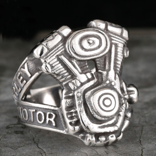 American cyclist Davidson party engine heavy Titanium Mens personality ring wholesale