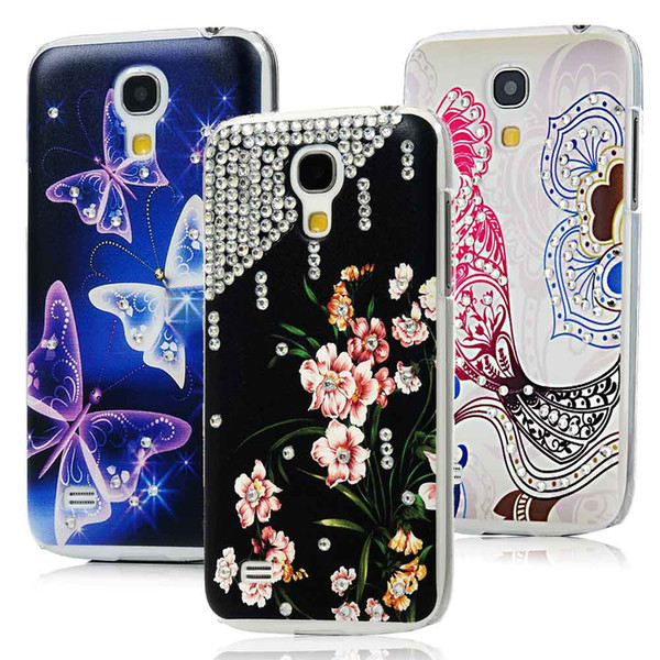 Wholesale-New Style Butterfly Flower Parrot Handmade Diamond Case For Samsung Galaxy S4 Mini i9190 Transparent Hard Back Cover Skin Shell