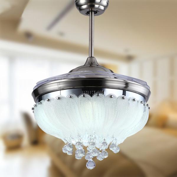 European simple design crystal pendant Light 42inch ceiling fan light blades hidden fan Invisible Blades Ceiling Fans ceiling fan light