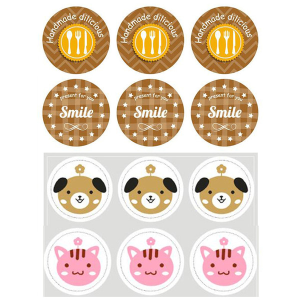 High Quality 20 sheet Sealing Paste Sealing Sticker Baking Cookies Packaging Decorate DIY Sticky Cute Prize Gifts Stationery Material Escola