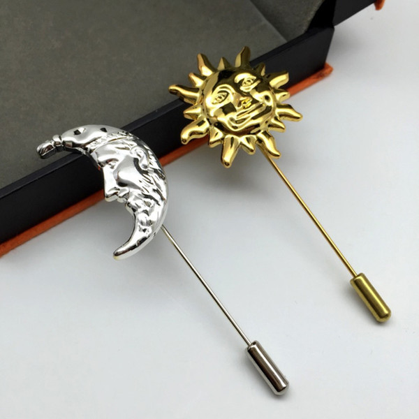 New fashion men boutonniere lapel flower pin suit button Stick brooches Long metal Golden Sun gold Silver Moon brooch for wedding Holiday