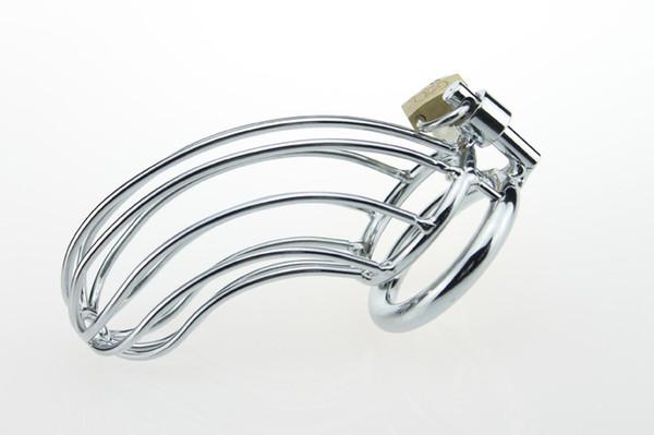 Dispositivos de castidade Masculino Penis Bloqueio Cinto De Castidade De Aço Inoxidável Gaiola Galo De Metal Para Homens Com Anéis Do Pénis BDSM Sex Toys