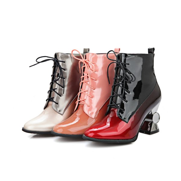 Cheap Women'S Kitten Heel Square Toe Lace Up Patchwork Patent ...