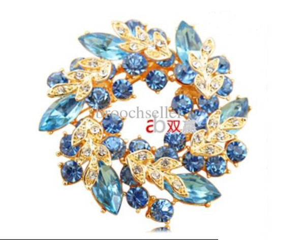 2 Inch Gold Plated Light Blue Crystal Wreath Flower Brooch Pin