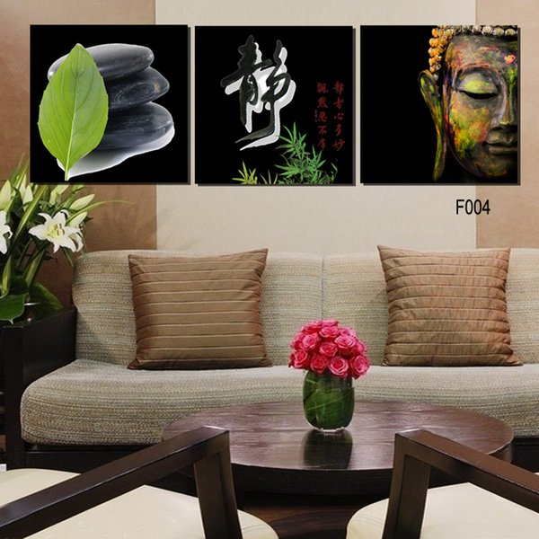 High Quality Hand-painted Group Oil picture print on canvas 3 Panel Wall Buddha Painting(No Frame)