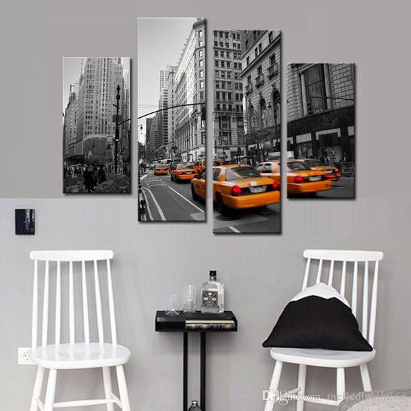 Modern Stretched Canvas Print of Yellow Taxi New York Street Photo Print for Wall Home Decor Canvas Artwork Oil Paintings Canvas