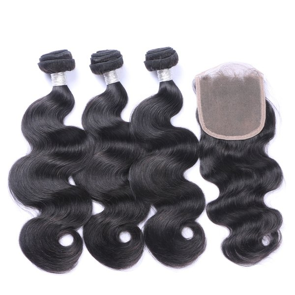 Cambodian straight curly water natural deep wave Human Hair Bundles With Lace Closure Best Quality Virgin Hair 3 Bundles With Closure