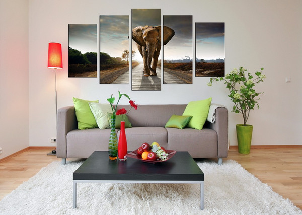 Wholesale Wall Art Prints Canvas Elephant Painting from Digital Picture Print on Canvas Modern 5 Panel Wall Art for Home Decor