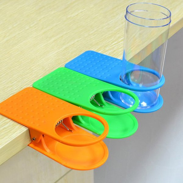 free shipping 120pcs/lot new Multi color Arrival Office Table Desk Drink Coffee Cup Holder Clip
