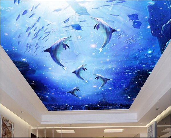 3d wallpaper custom photo non-woven mural wall sticker Dolphins underwater world painting 3d wall room murals wallpaper