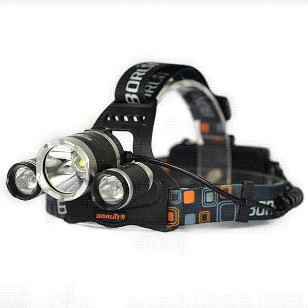 3T6 8000LM Boruit RJ-3001 3x XM-L T6 LED USB Headlight 8000 Lumen Head Lamp Flashlight Torch Lanterna Headlamp+Battery/Charger