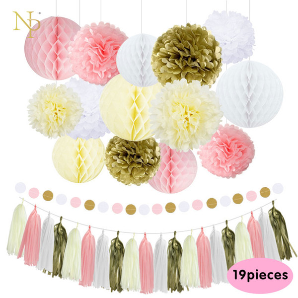 NicroMixed Gold Pink Ivory White Party Tissue Paper Flowers Tassel ...
