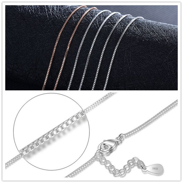 Fashion Silver plated Box Chain 1mm 20 inch boxes chain Necklace Jewelry Accessaries XZS-003 925 Silver/White Gold/ Rose gold