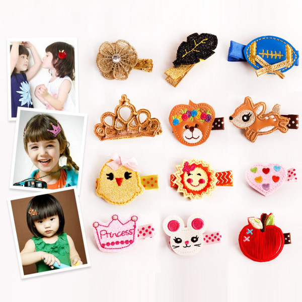 20 styles Children Cute Cartoon Animal Fruit Hair Clips Baby Exquisite Embroidery Headdress Girls Hair Accessories Headwear Kids Hairpins