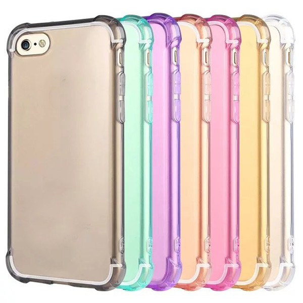 Custodia morbida in TPU anti-shock airbag trasparente per iPhone 7 Iphone7 7g 7th I7 Custodia in silicone colorato Deluxe di lusso antiurto per 4.7 pollici colorful