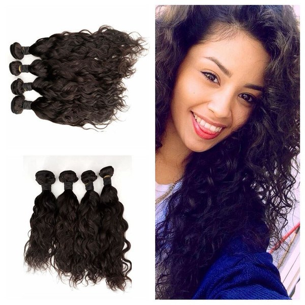 Peruvian Wave Wave Bundles de cheveux non transformés 8-30-30 pochettes de cheveux humains 4pcs Extensions de cheveux humides et ondulés G-EASY