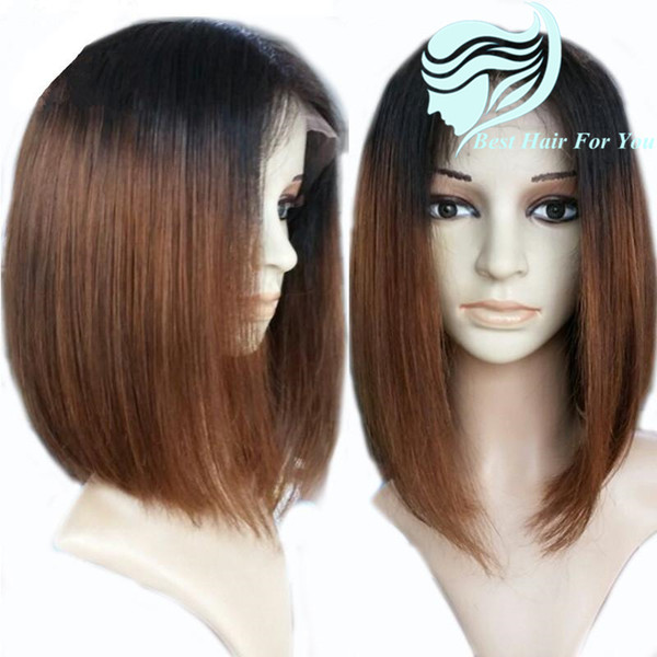 1B #30 Brown Ombre Short Human Hair Bob Lace Front Wigs With Baby Hair Full Cuticle Bob Glueless Full Lace Wigs