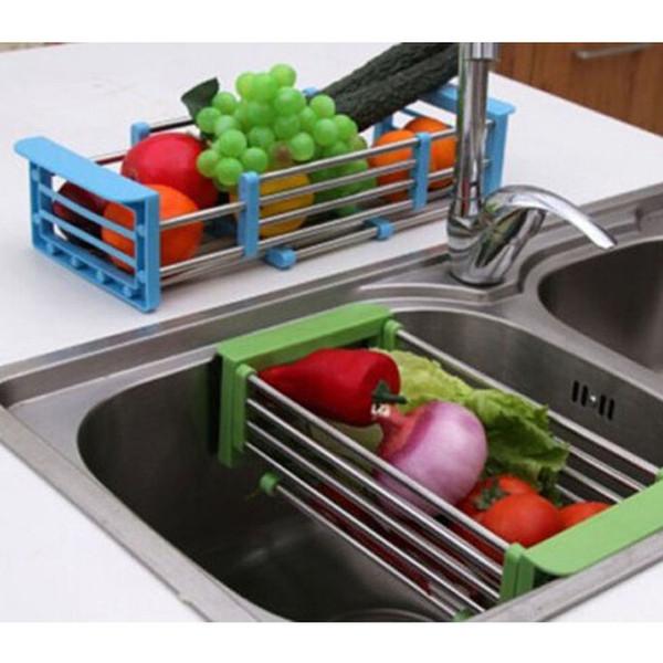 Freeshipping in acciaio inox regolabile telescopica cucina sopra lavello piatto stendino inserto di archiviazione organizzatore di frutta vassoio vassoi scolapiatti
