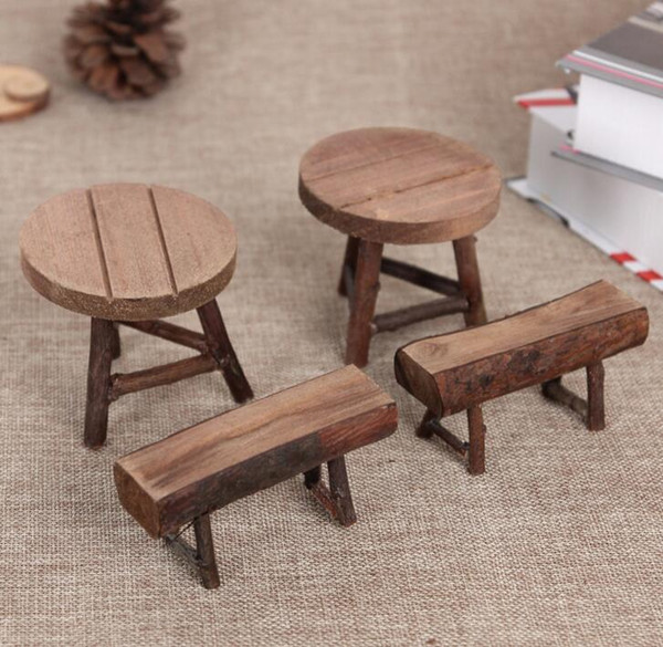 Free shipping NEW Zakka Mini Wooden stool and table furnishing articles decoration home wood crafts garniture photography props 2pcs/set