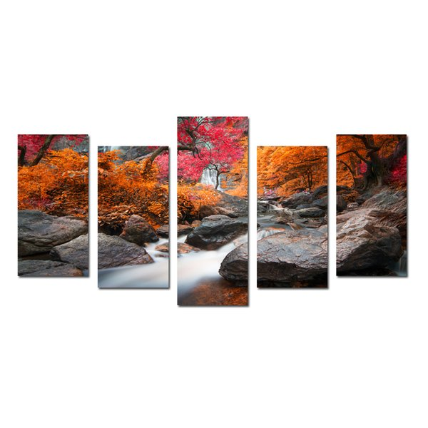 Red Maple Trees And Stone Nature Canvas Artwork for Wall Decor Landscape Frameless Picture For Living Room Canvas Modern Wall Hangings
