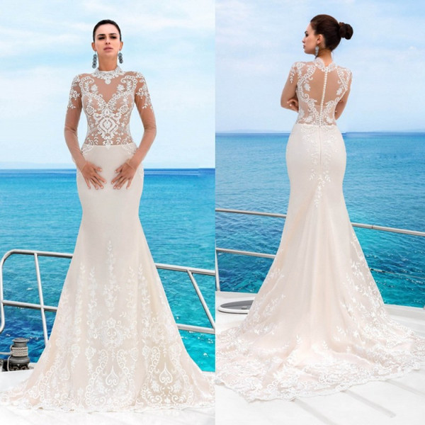 Modest Long Sleeve Mermaid Wedding Dresses High Neck Lace Applique ...