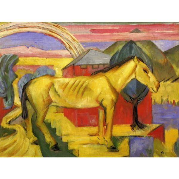 Canvas art Long Yellow Horse Franz Marc Paintings oil reproduction High quality Hand Painted