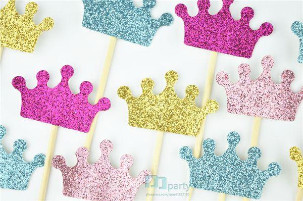 Atacado-coroa cupcake toppers, coroas de glitter, decorações da festa de princesa, aniversário do príncipe, rosa e ouro, cores personalizadas, baby shower