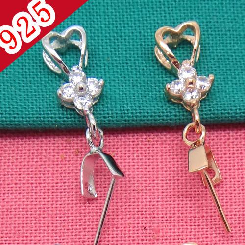 Bulk Price-Min 5piece,925 Sterling Silver Platinum-Rose Gold Heart-shaped Pendant Clips with Flower-shaped Zircon