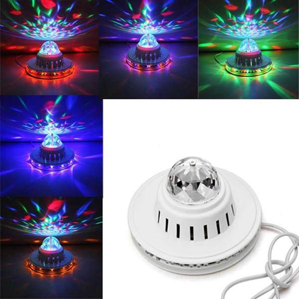 Edison2011 8W a todo color de luz LED Bombilla de girasol Lámpara auto giratoria de MP3 Crystal Stage Light DJ KTV Club luz de efecto de fiesta familiar
