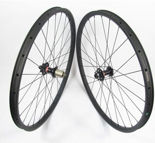 26erx30mm width carbon wheelset hookless 22mm depth front M15 thru rear 142mm X12 SUPER LIGHT MTB XC carbon wheels