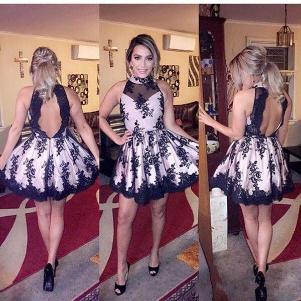 Cheap 2016 New Short Cocktail Dresses High Neck Illusion Black Lace Appliques Open Back Evening Wear Prom Party Dress Formal Homecoming Gown