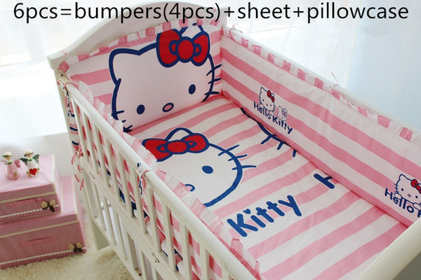 Promotion! 6PCS Hello Kitty Baby Bedding Set 100% Cotton Crib Bedding for Children,include(bumpers+sheet+pillow cover)