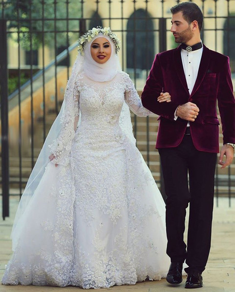 Arab Saudi Arabia Long Sleeves Modest Muslim Wedding Dresses Lace Beads Over Skirt Mermaid Bridal Gowns With Sleeves Detachable Train Dubai