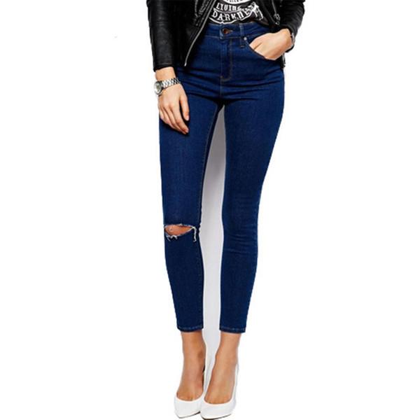 Crayon Jeans taille haute moulant taille haute en calcaire déchirés Jeans Femme Jeans élastique Jeans Feminino Feminina