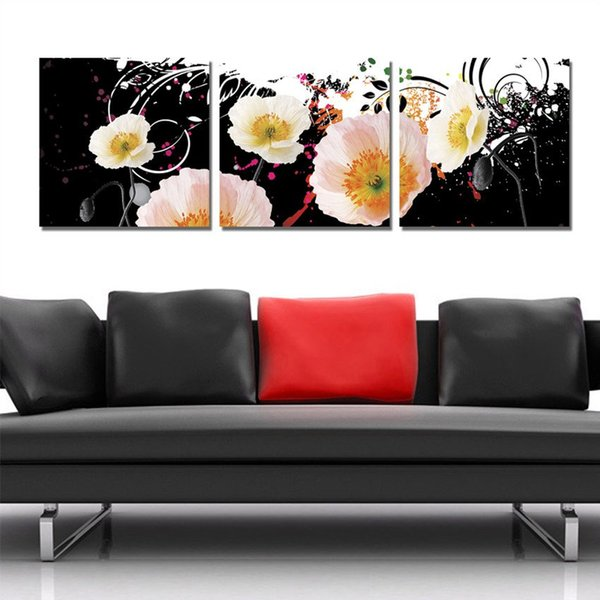 Free Shipping 3 Pieces unframed art picture on Canvas Prints Cartoon flower wild flower Lotus leaf orchid chinese characters leaf peony