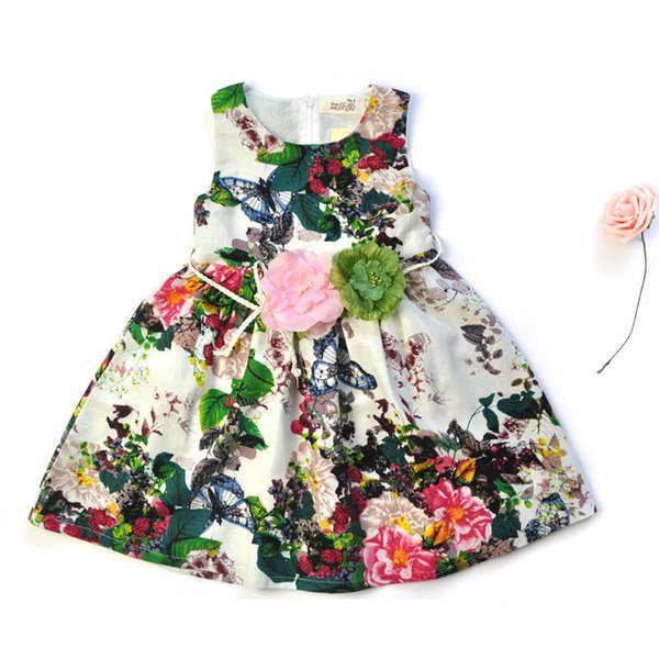 4c70f0ea96be6 Kids clothing summer dresses for girls summer style girl dress floral print  cotton birthday party sundress