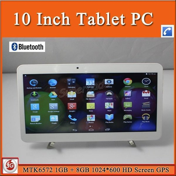 DHL 10pcs 10 Inch Phablet MTK6572 Dual Core Android 3G Phone Call Tablet PC OTG GPS Bluetooth Wifi Dual Webcams 1GB 8GB 1024*600