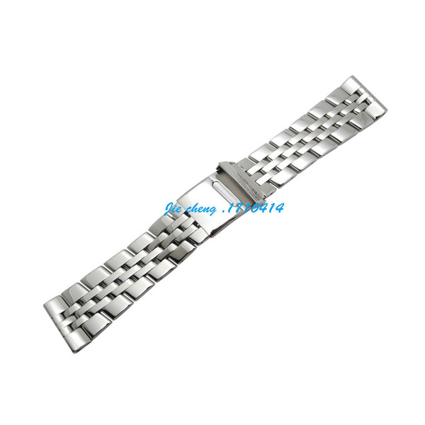 best selling JAWODER Watchband 22mm 24mm Full Polished Stainless Steel Watch Band Strap Bracelet Accessories Silver Adapter for Breitling SUPEROCEAN