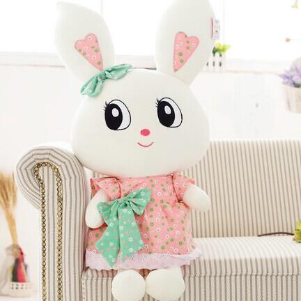 Petite taille 40 cm WJJA8330 fille robe noeud papillon yeux BIg lapin bébé en peluche oreiller en peluche poupée Enfants cadeau d'anniversaire Saint Valentin
