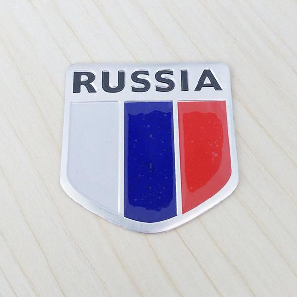 Wholesale New 3D Aluminum Russia National Flag Emblem Car Stickers for BMW Ford Focus Chevrolet Cruze Kia Rio Skoda Octavia Toyota Honda