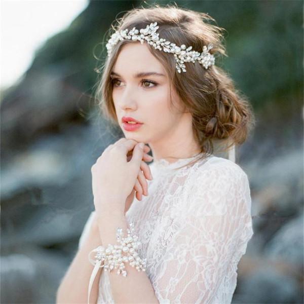 Wedding Bridal Bridesmaid Headband Tiara Bracelet White Freshwater Pearl Hair Accessories Ribbon Hand Chain Charm Bangle Silver Jewelry Set