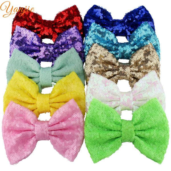 """Wholesale- 10pcs/lot 32colors 5"""" Big Glitter Sequin Bow WITHOUT Hair Clips,For Baby Girls Headbands DIY Hair Bows Kids Hair Accessories"""