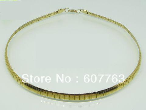 """6MM Width 316L Stainless Steel 18K Gold Plated Plating Choker Chain Necklace 16"""",18"""" Inches or 40CM,45CM Length Available"""