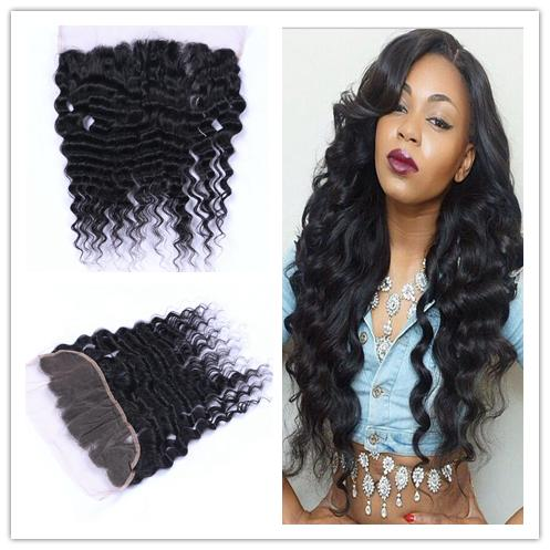 Stock Peruvian Virgin Human Hair Deep Wave 13x4 Lace Frontal Closure Bleached Knots Free Middle Three Part Ear to Ear Full Lace Frontals