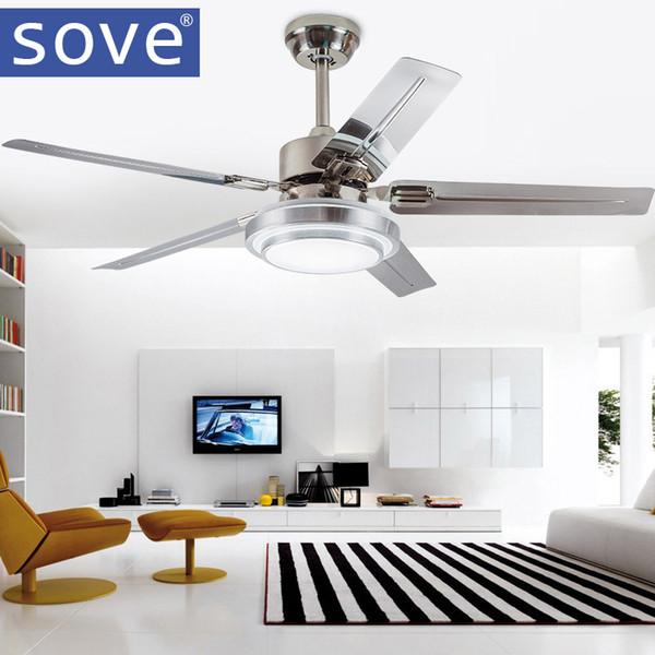 Beau Sove Moderne Led Plafonnier Ventilateur Salle À Manger En Acier Inoxydable  Lame Plafond Ventilateurs Avec Feux