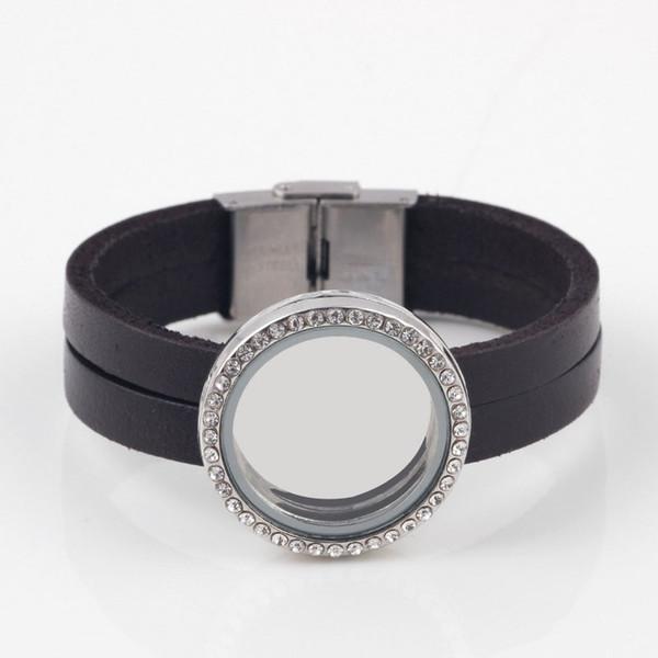 Wholesale-1pc Fashion Wrap Glass Living Memory Locket Charm Bracelet 30mm Floating Locket Bracelet Leather For Women/Men