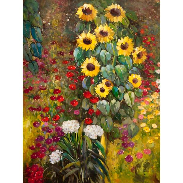 Berühmte Gustav Klimt Bauerngarten mit Sonnenblumen Gelbe Handgemalte Ölgemälde Leinwand Reproduktion Hauptdekor-